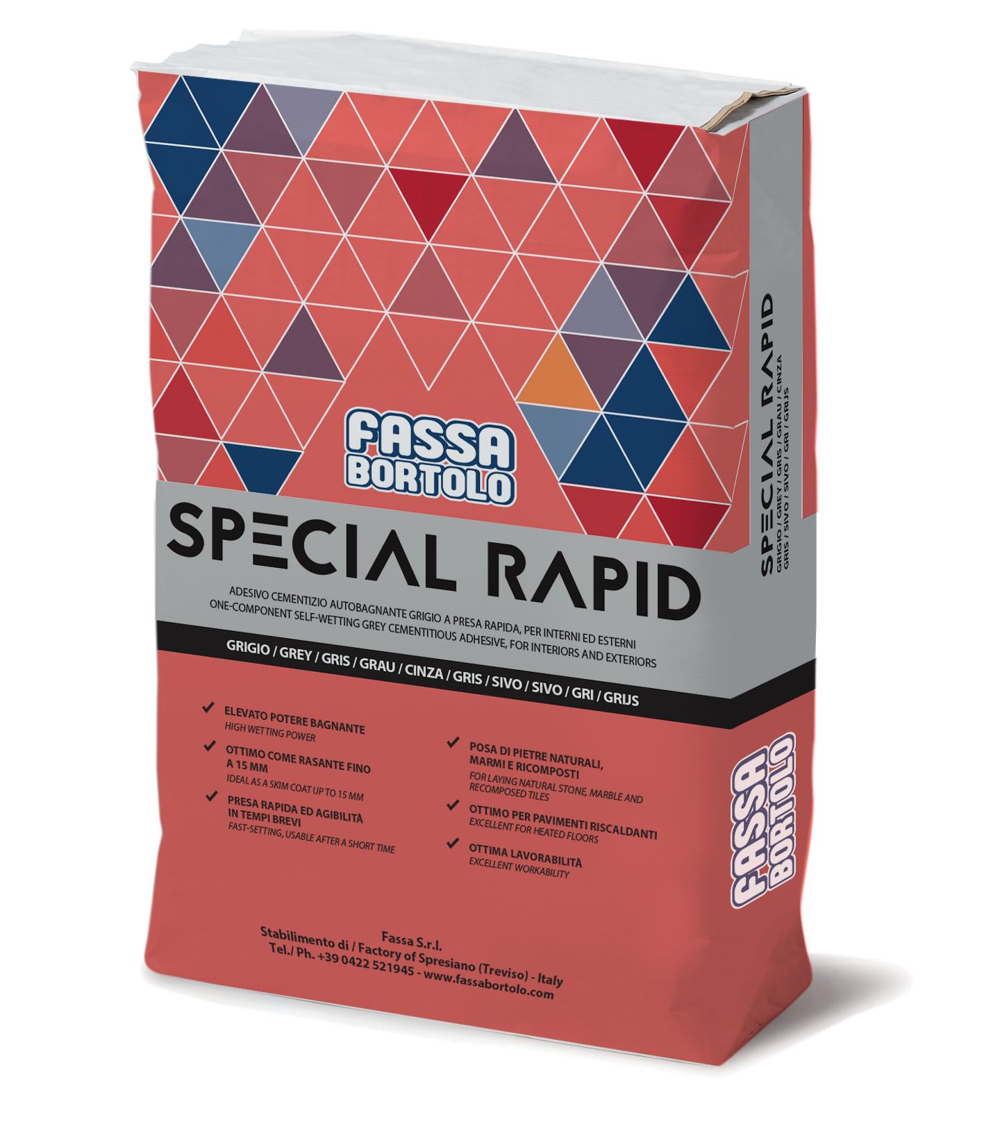 SPECIAL RAPID: Schnellabbindender und selbstnetzender Einkomponenten-Klebstoff in Grau, für Bodenbeläge sowohl im Außen- als auch im Innenbereich.