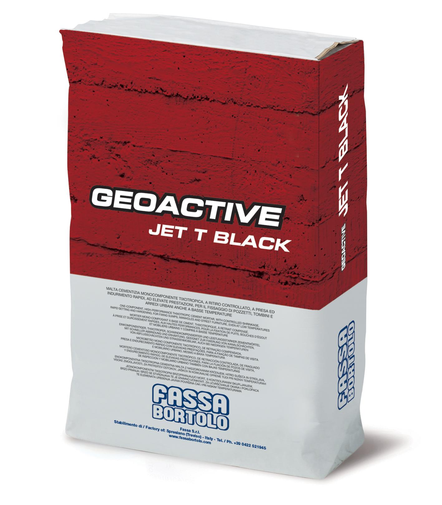 GEOACTIVE JET T BLACK: Einkomponentiger zementgebundener Schnellmörtel von schwarzer Farbe, thixotrop, faserverstärkt und mit hohen Leistungseigenschaften, für den Einbau von Schachtabdeckungen und die Befestigung von Städtemobiliar auch bei niedrigen Temperaturen