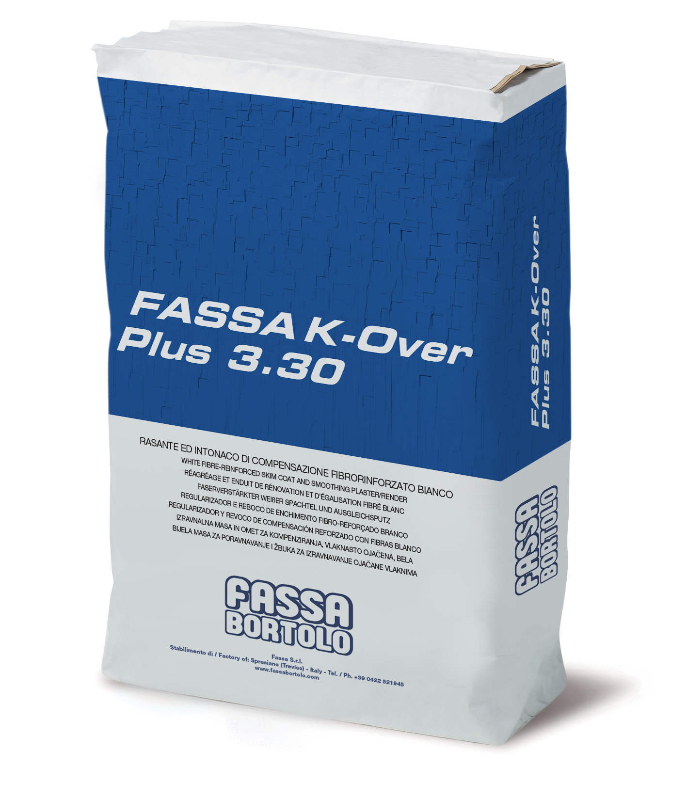 FASSA K-OVER PLUS 3.30: Faserverstärkter weißer Spachtel und Ausgleichsputz für Ausbesserungs- und Restaurierungsarbeiten an Innen- und Außenflächen