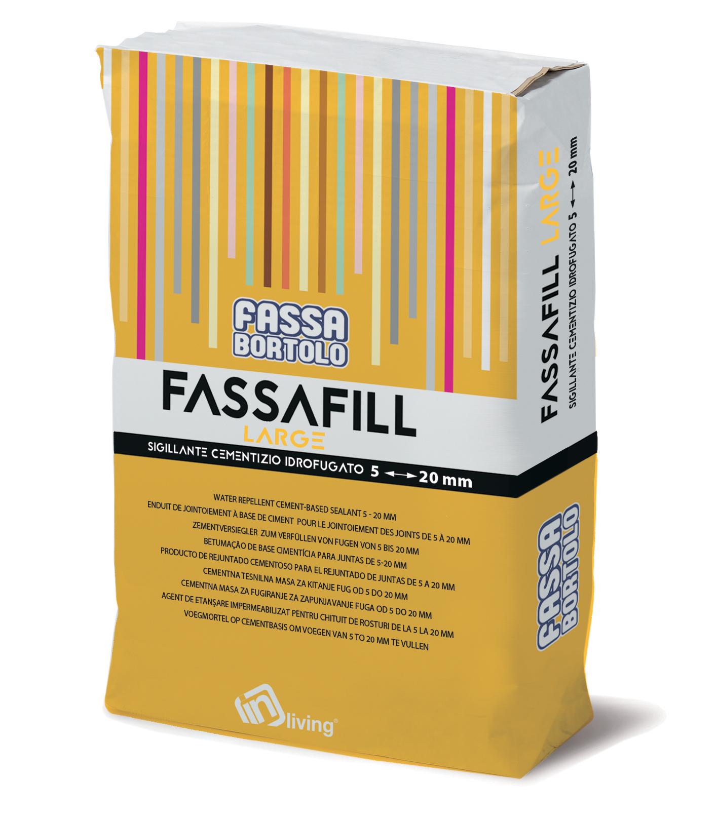 FASSAFILL LARGE: Hydrophobierter Zementversiegler mit hohen mechanischen Festigkeiten und großer Abriebbeständigkeit, schimmelpilz- und algenbeständig, für die Verfüllung von Fugen von 5 bis 20 mm