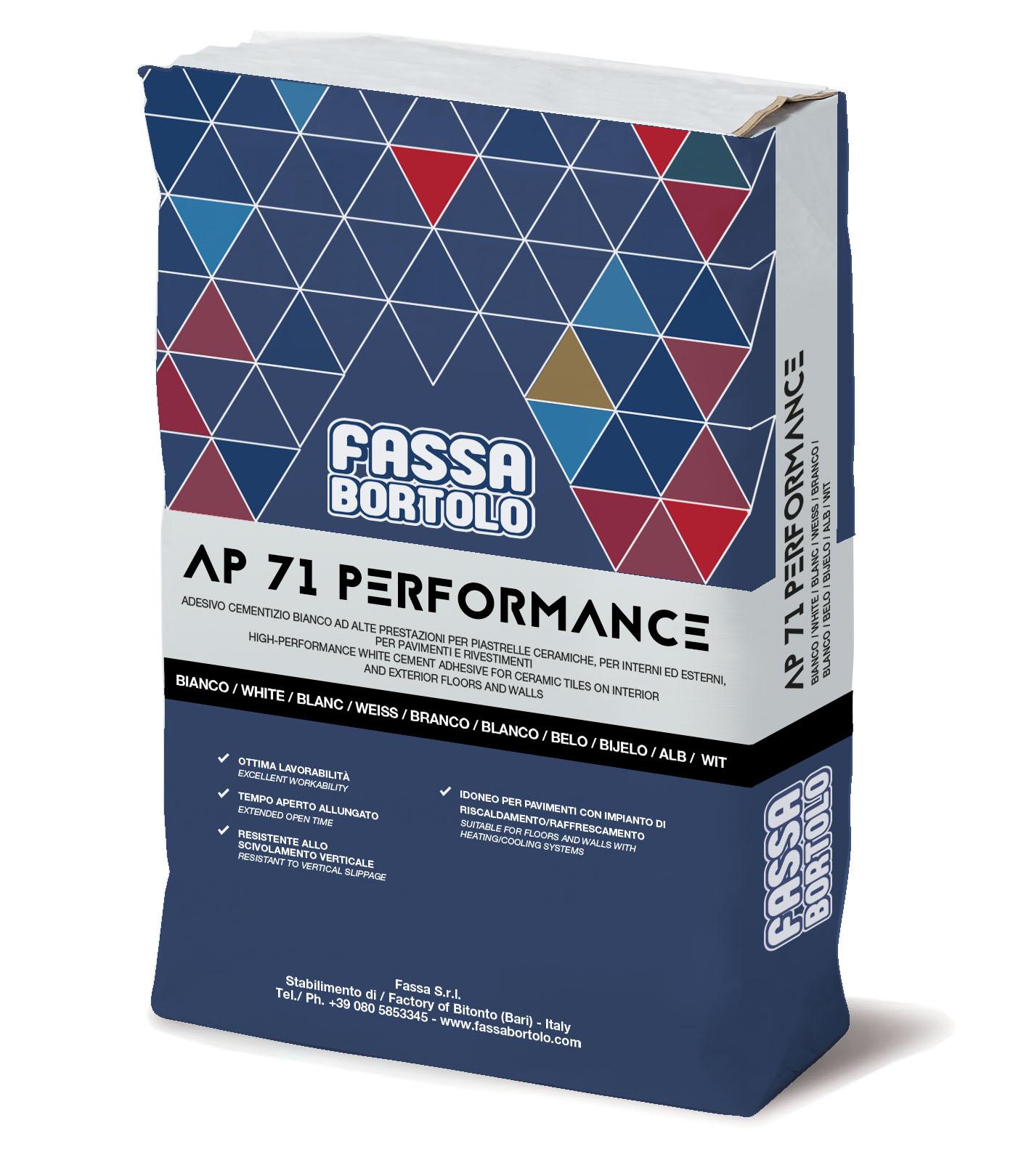 AP 71 PERFORMANCE: Einkomponenten-Klebstoff von mittlerer Elastizität in Weiß und Grau, abrutschfest und mit verlängerter Offenzeit, für Boden- und Wandbeläge sowohl im Außen- als auch im Innenbereich.