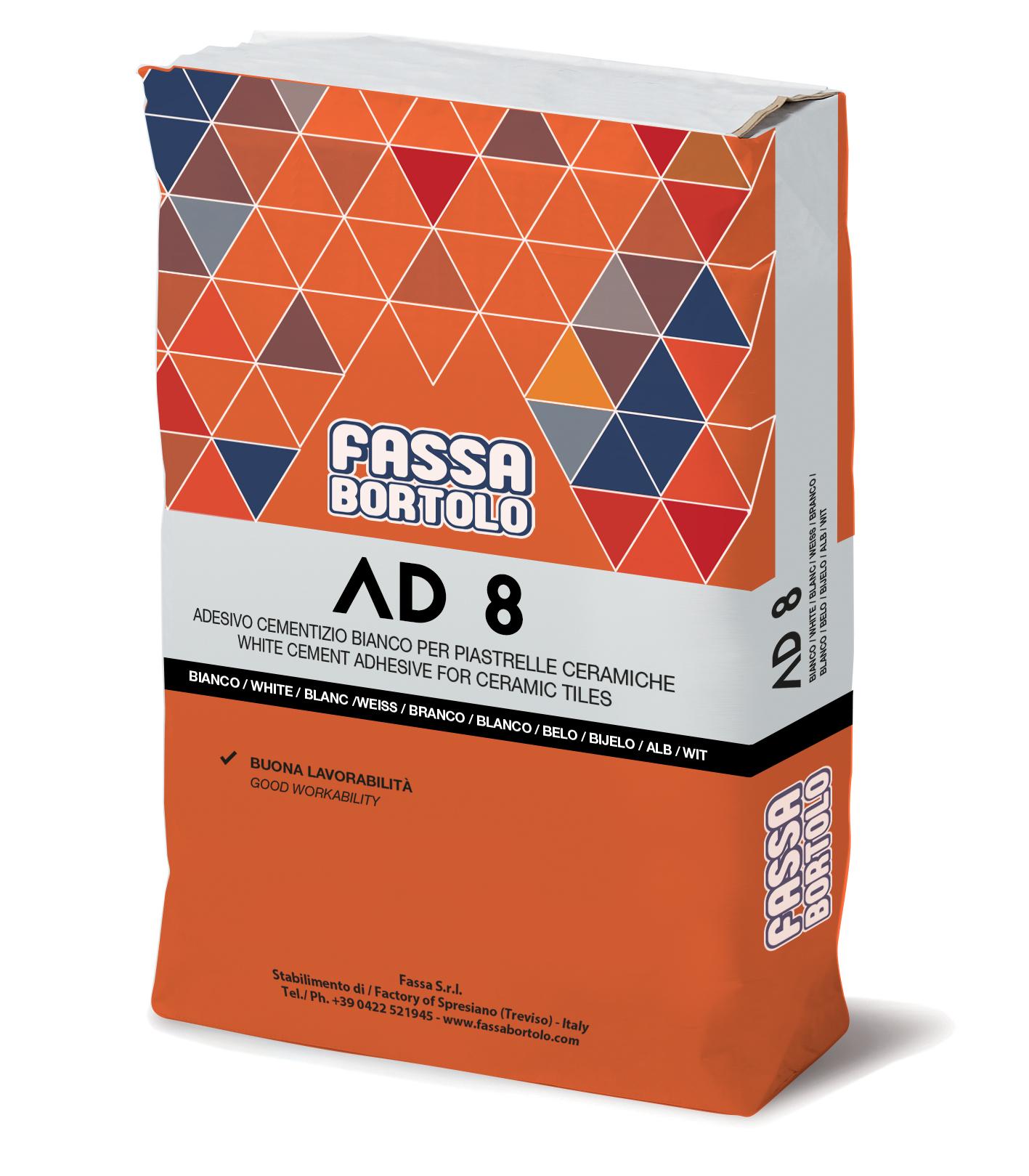 AD 8: Weißer und grauer Einkomponenten-Kleber für Boden- und Wandbeläge im Innen- wie im Außenbereich
