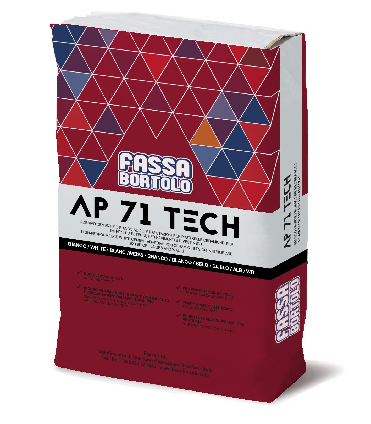 AP 71 TECH: Einkomponenten-Klebstoff in Weiß und Grau, abrutschfest und mit verlängerter Offenzeit, für Boden- und Wandbeläge sowohl im Außen- als auch im Innenbereich.