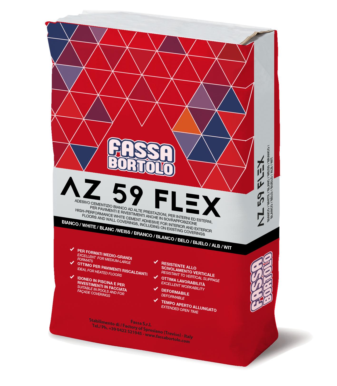 AZ 59 FLEX: Einkomponenten-Kleber mit guter Elastizität in weiß und grau, für Boden- und Wandbeläge im Außen- und Innenbereich