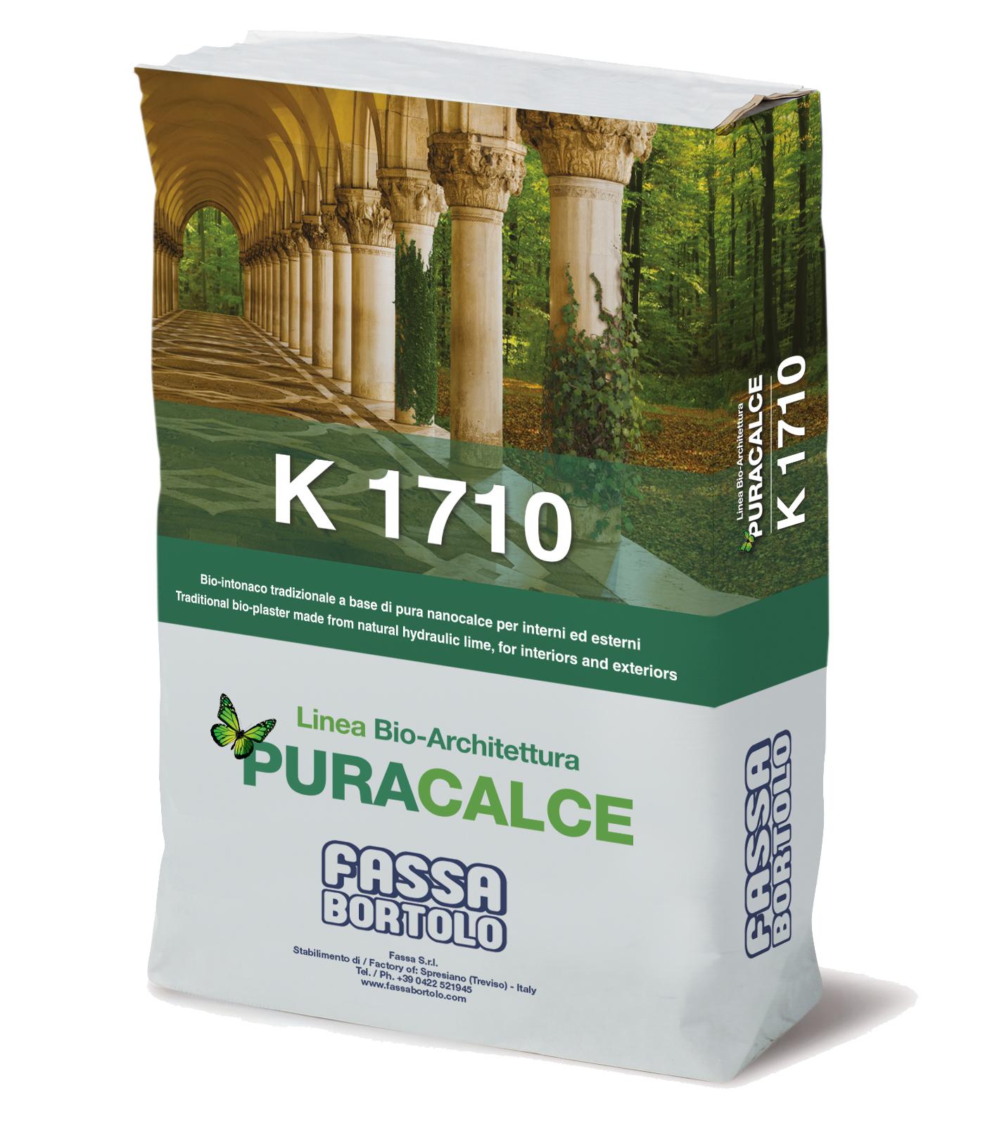 K 1710: Traditioneller Bio-Grundputz mit Puzzolanwirkung, faserverstärkt, auf der Basis von reinem Nanokalk, für innen und außen