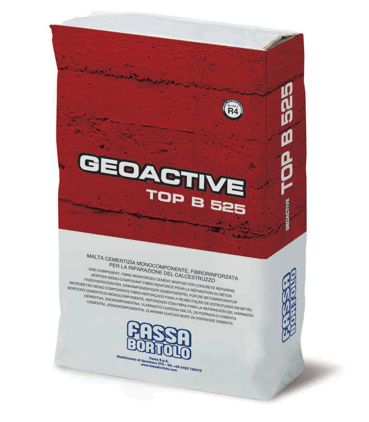 GEOACTIVE TOP B 525: Einkomponentiger thixotroper Zementmörtel, faserverstärkt und schwindkompensiert, sulfatbeständigen Zement beinhaltend, spritzbar, für die Reparatur und Wiederherstellung von Betonbauwerken