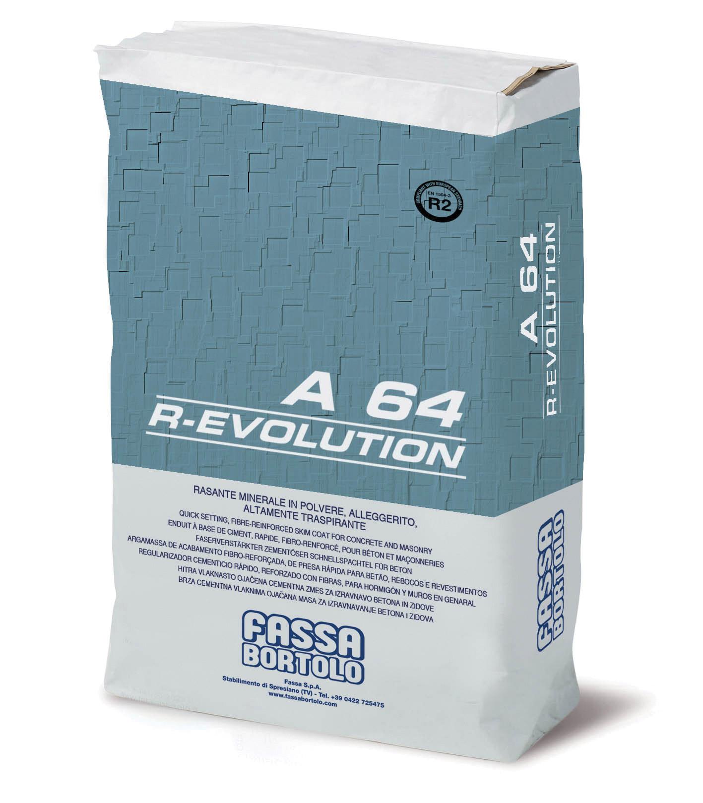 A 64 R-EVOLUTION: Mineralischer, faserverstärkter, hydrophober Spachtel zur Anwendung auf Oberflächen mit hohen mechanischen Festigkeiten, auf der Basis von Kalk und Hydraulikbinder, für innen und außen