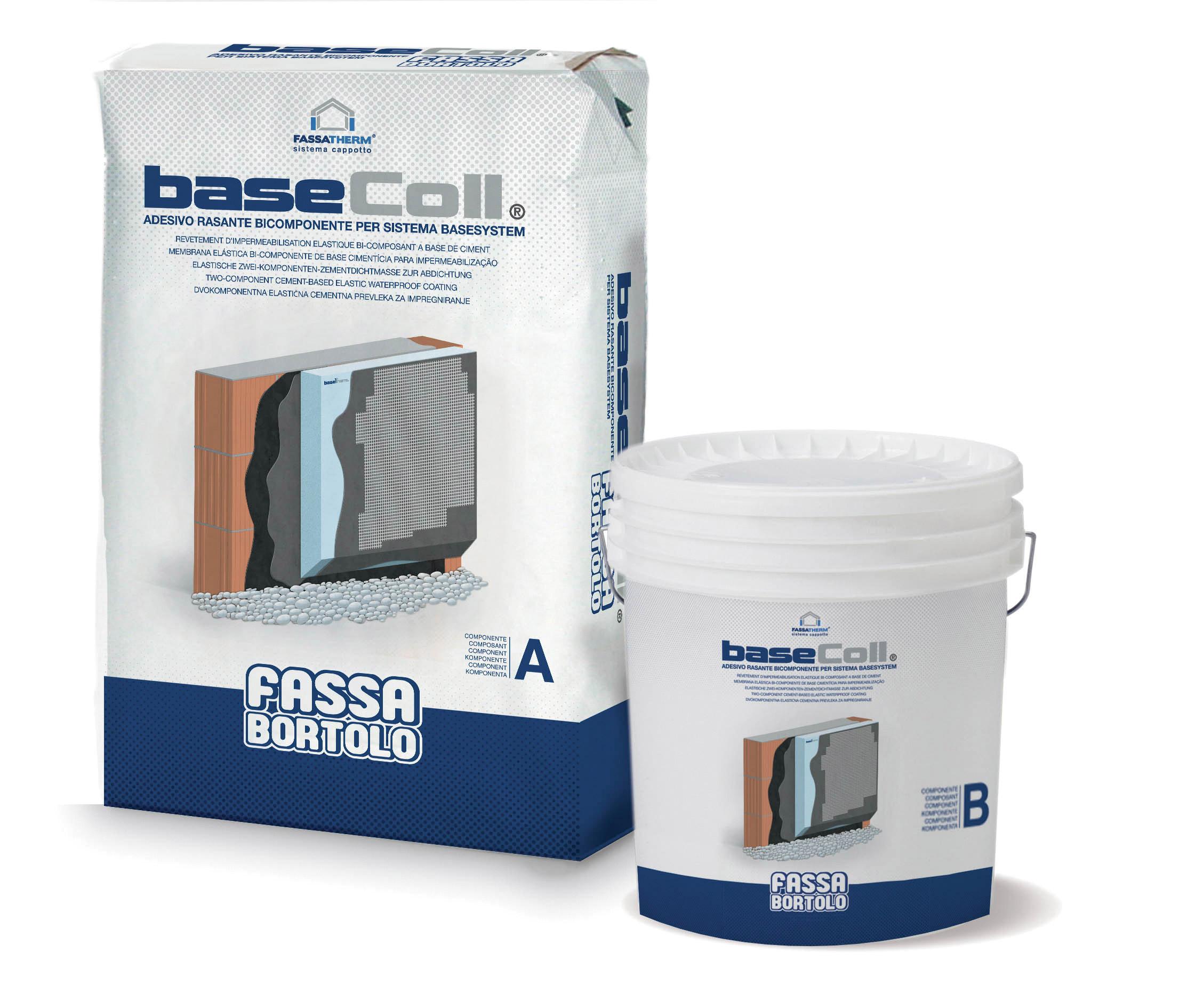 BASECOLL: Zweikomponentiger zementgebundener Spachtelkleber und wasserundurchlässiger Dichtstoff, zur Verklebung und Verspachtelung von EPS-Sockeldämmplatten