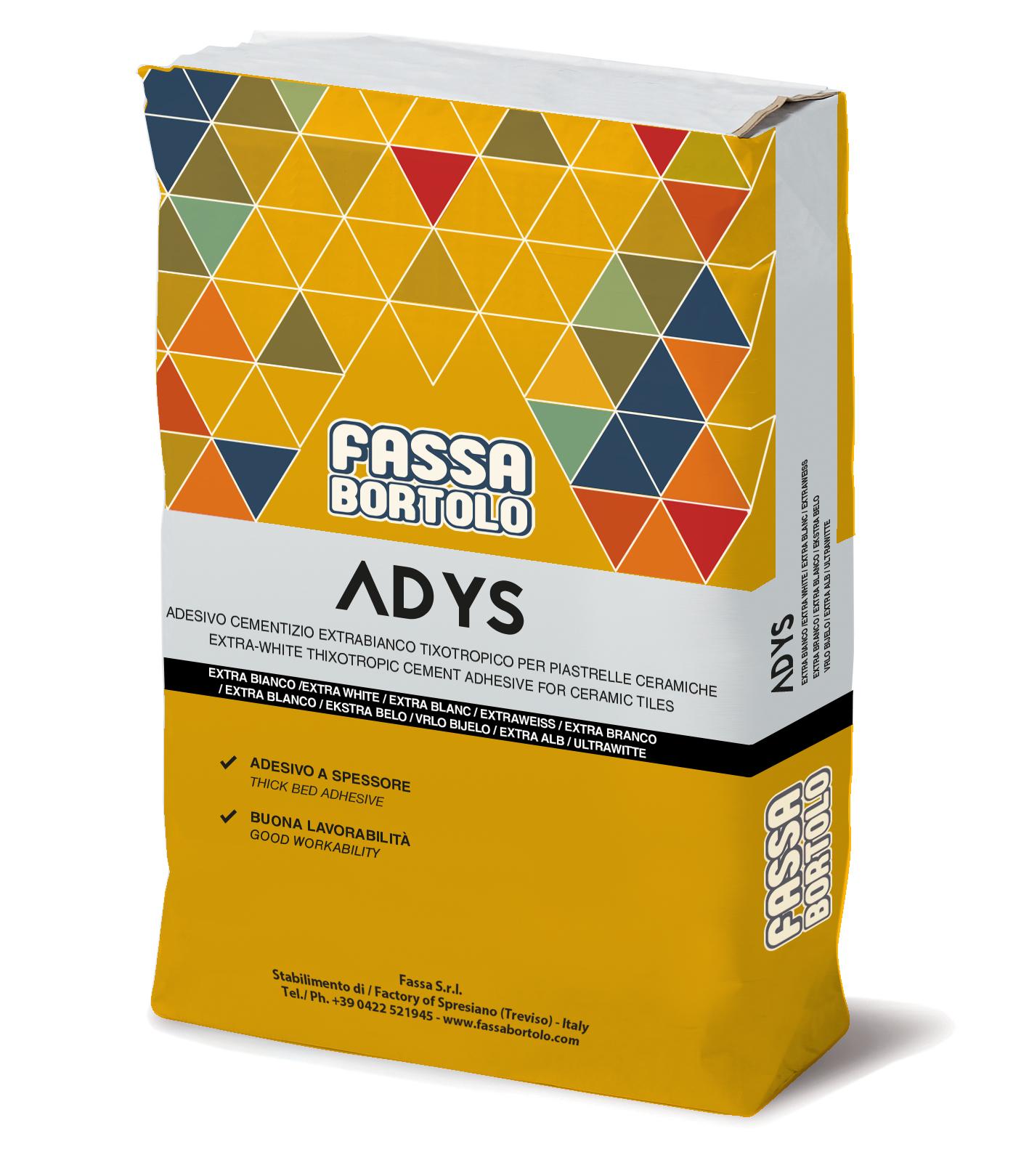 ADYS: Extraweißer und grauer Einkomponenten-Klebstoff für Boden- und Wandbeläge im Innen- und Außenbereich